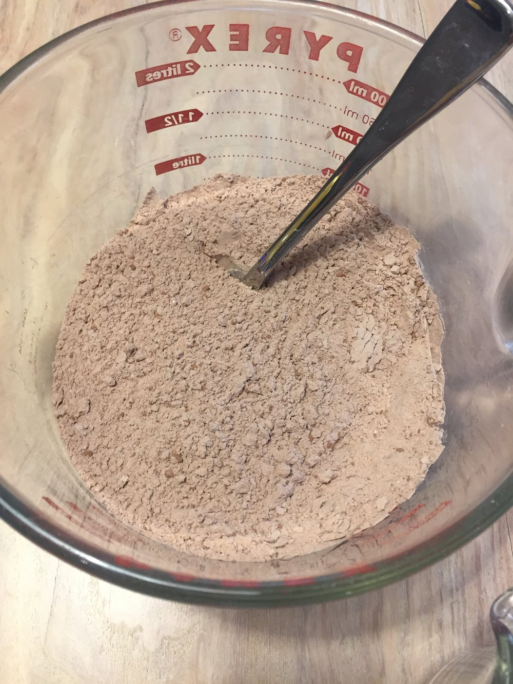 Mix the flour, cocoa, baking soda, and salt.