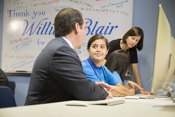 William Blair CFO Jon Zindel (left), Metro student Olimpia Rodriguez, William Blair Managing Director Laura Van Peenan