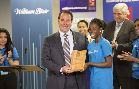 William Blair CFO Jon Zindel with Metro student Presley Owousu Bonsu