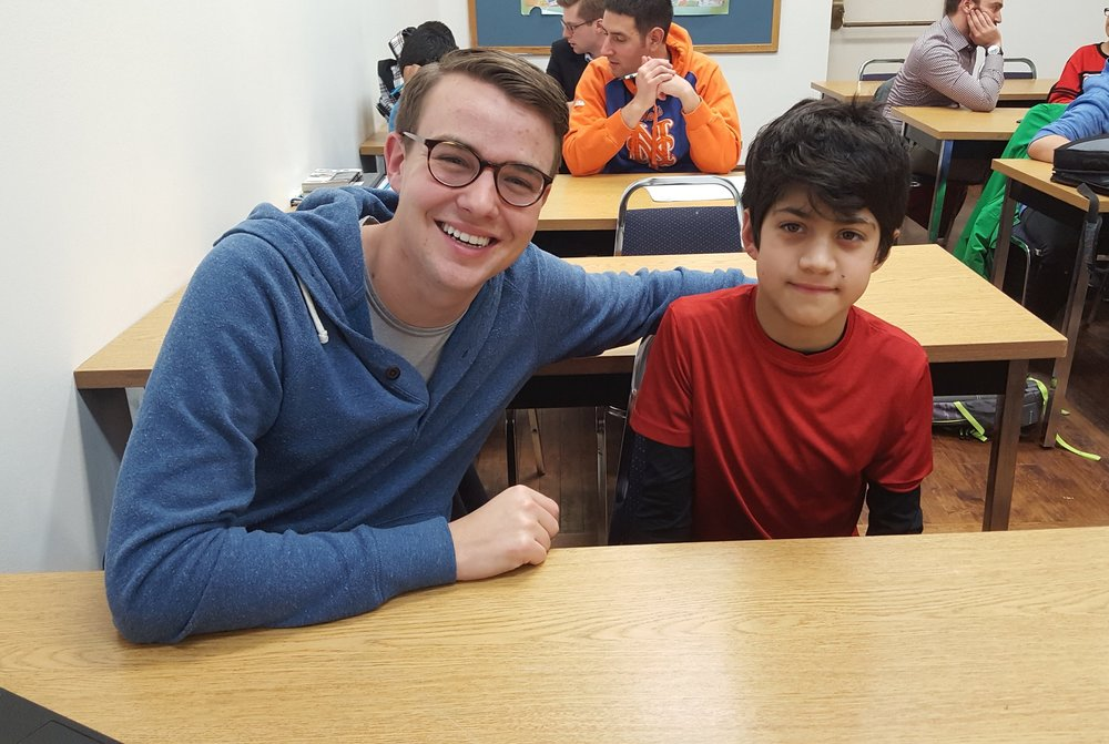 Mentor Cam Robertson with his longtime mentee Miguel.