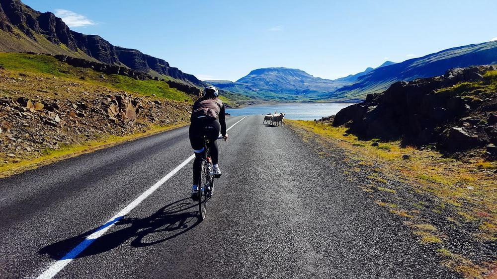 Training on the Challenge Iceland bike course. Cannot complain about the scenery that much.