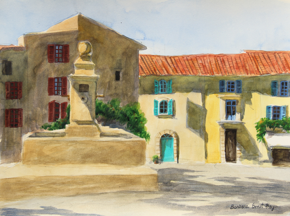 Gordes , 2015, Watercolor on paper