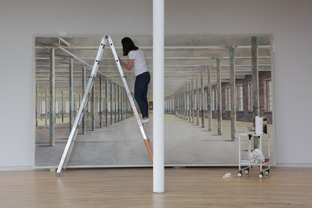 Barbara Prey on Ladder at MASSMoCA.JPG