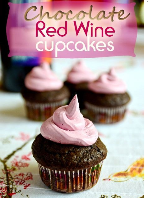 Chocolate red wine cupcakes with red wine buttercream frosting by sensualappealblog.com