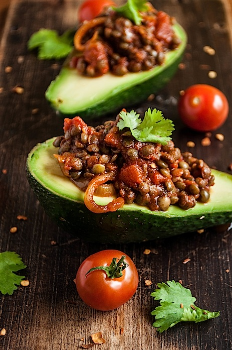 Avocado Stuffed With Smokey Lentils by gourmantine