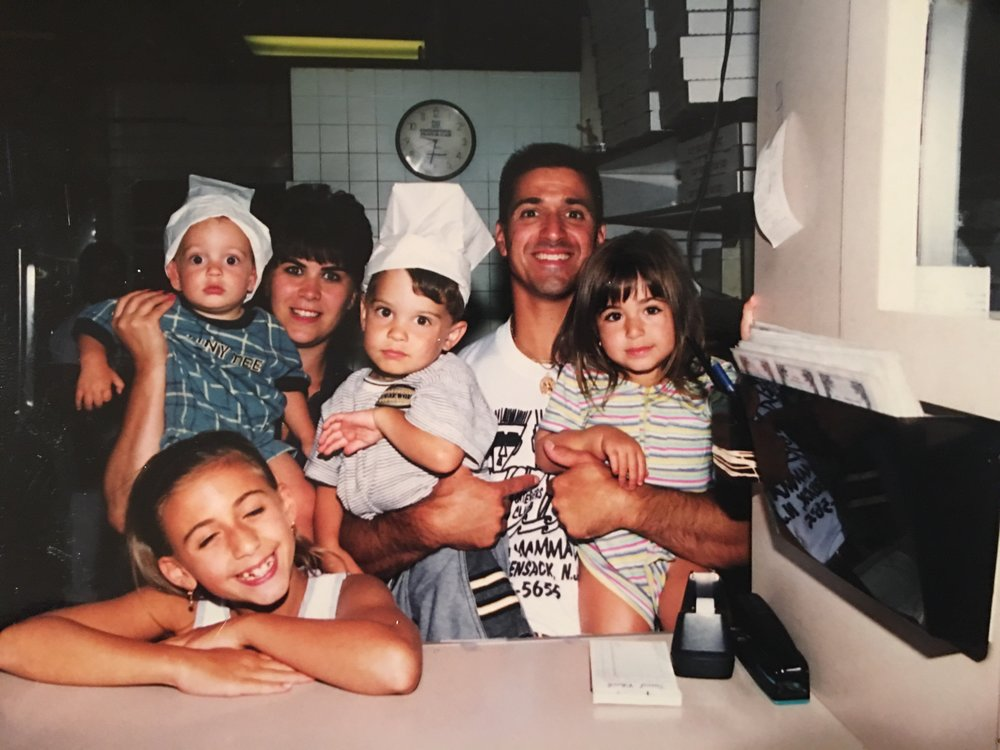 1999:  Photograph of John Policastro, his wife Lisa, his two daughters, and two nephews.