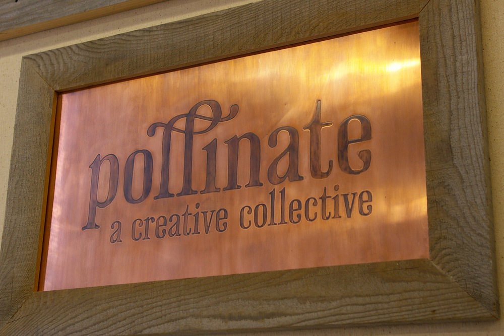 Pollinate signage | recycled etched copper