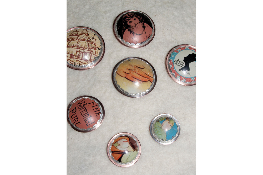 buttons fabricated from vintage tins