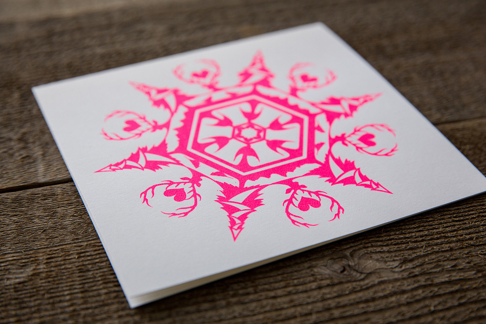 card | neon snowflake