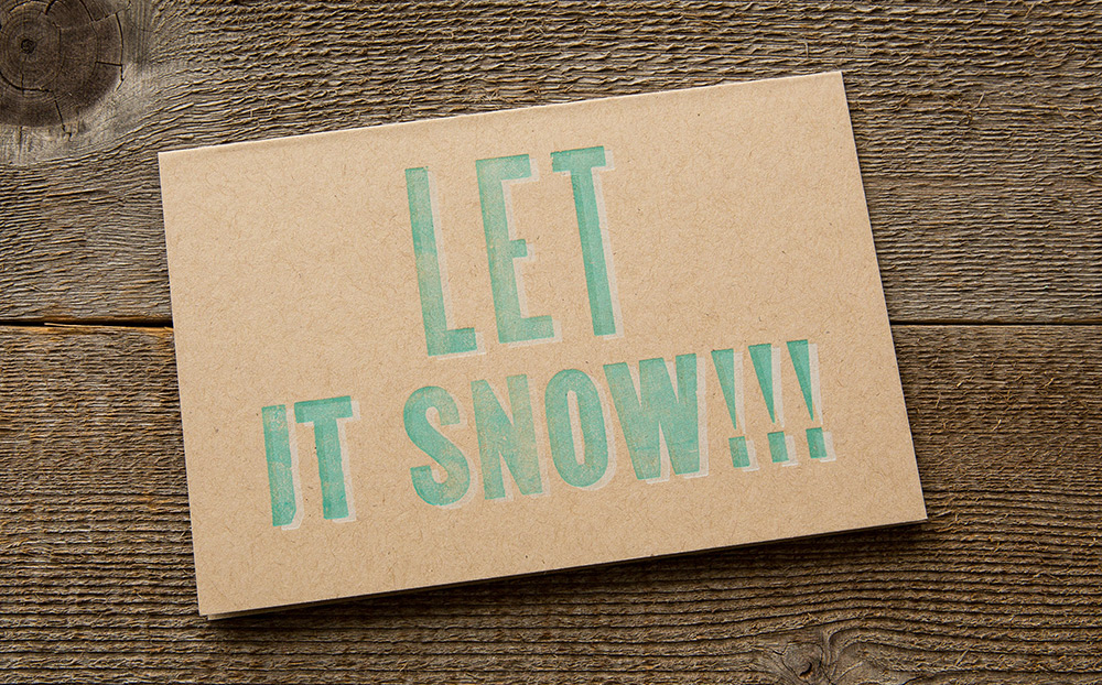 Let It Snow!!! letterpress card
