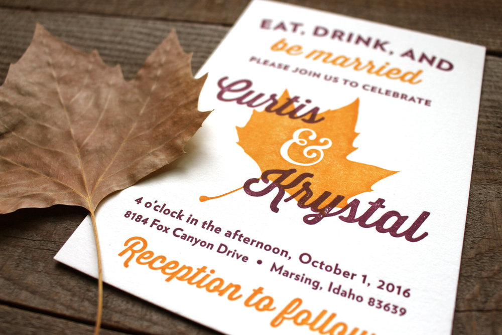 Fall Wedding Invitation Suite — Pollinate Print Shop