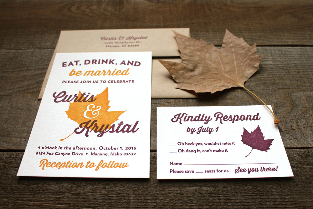 Fall Wedding Invitation Suite Pollinate Print Shop