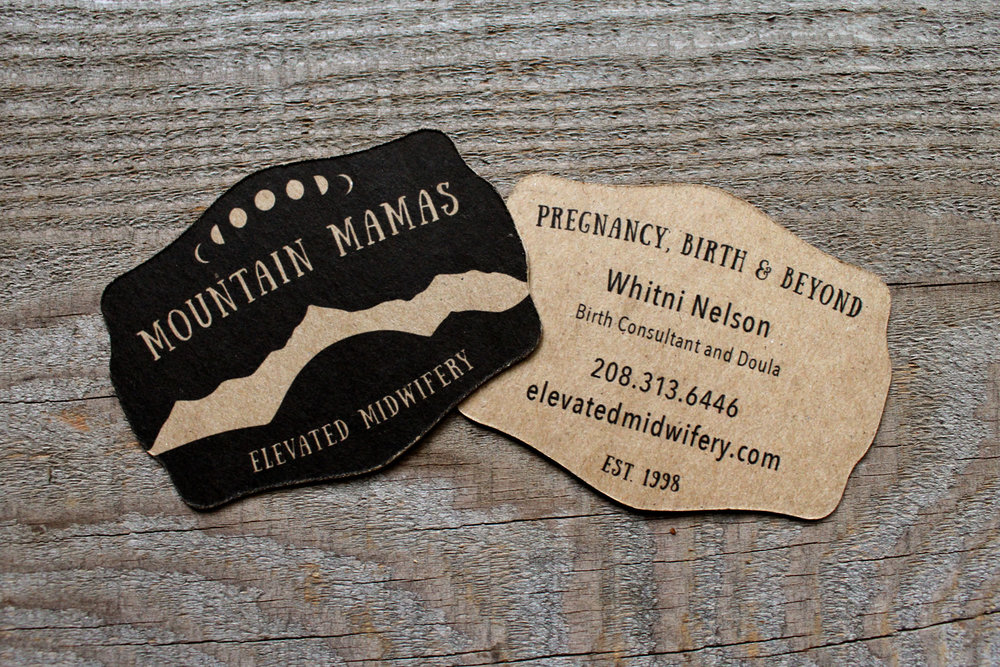 business card for mountain mamas midwifery