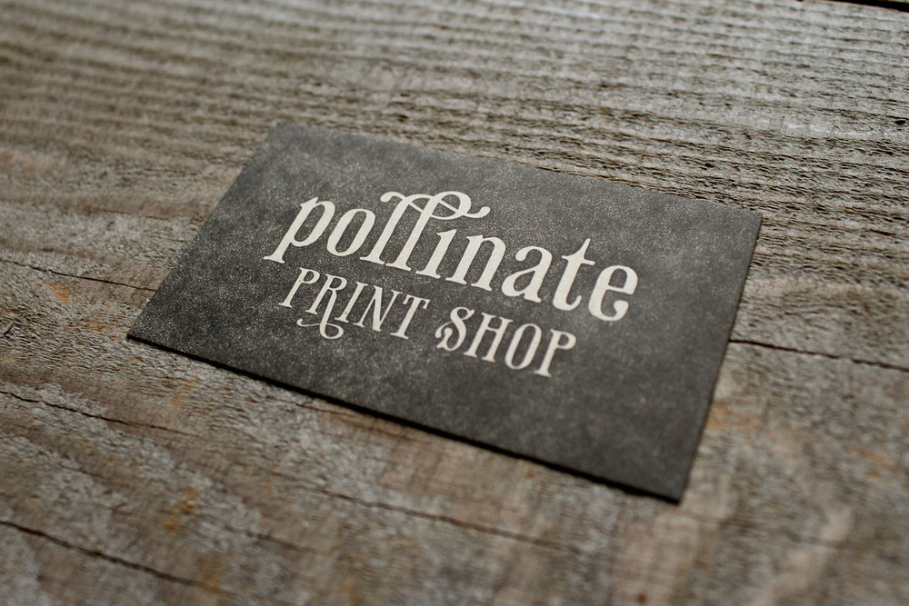 letterpress pollinate business card