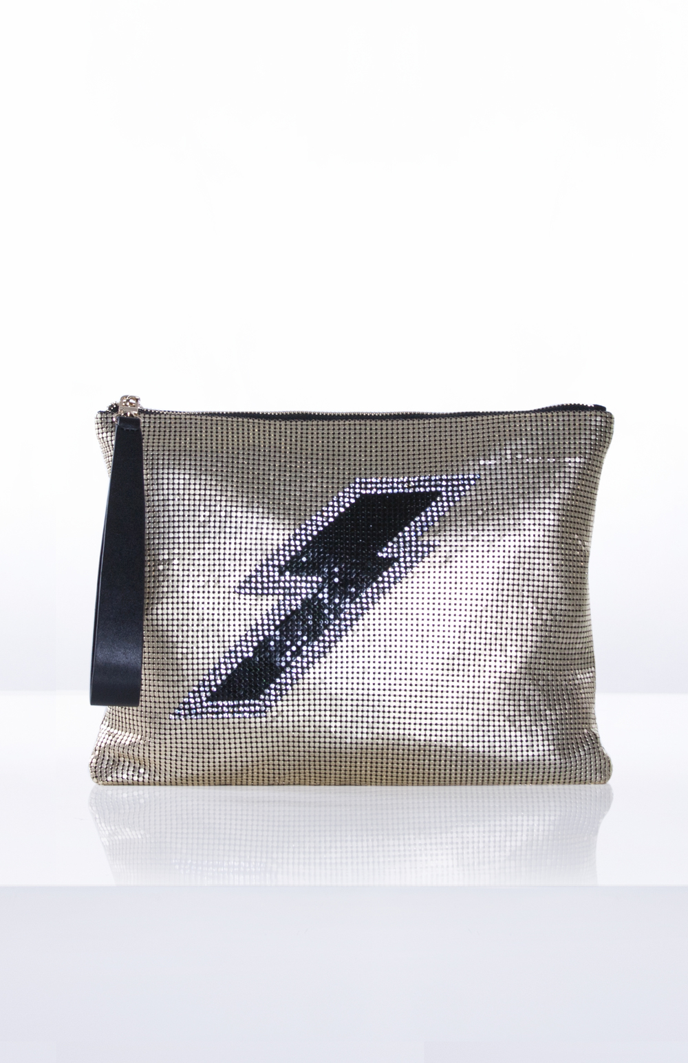 JUPITER MESH CLUTCH- Gold + Black