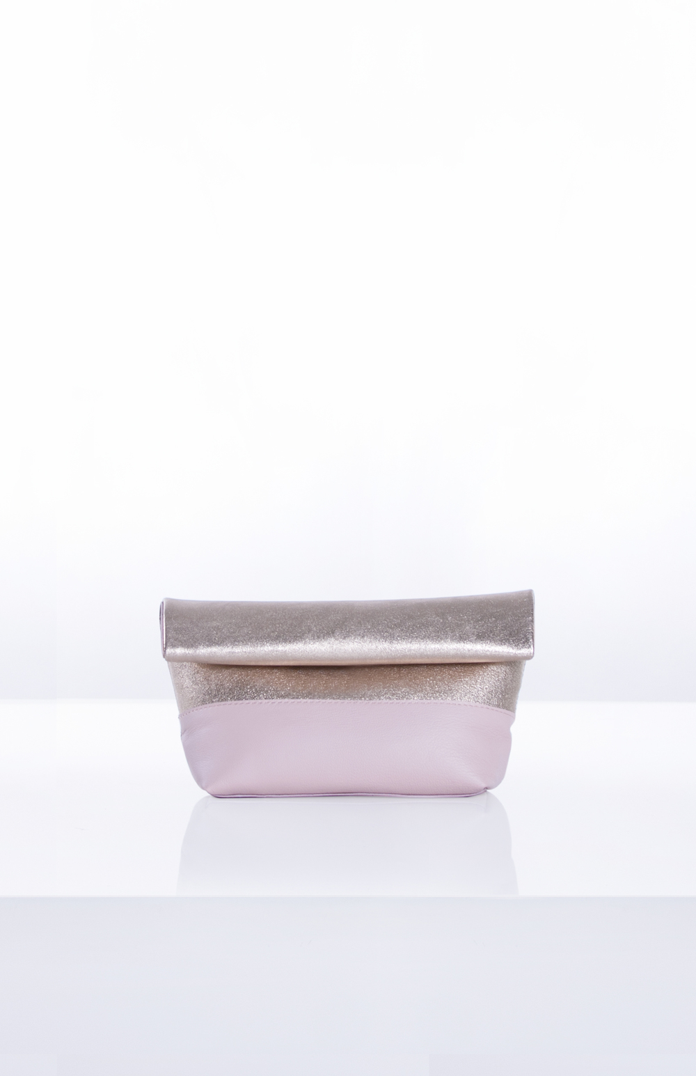 LUNA ROLLDOWN CLUTCH- Gold + Blush