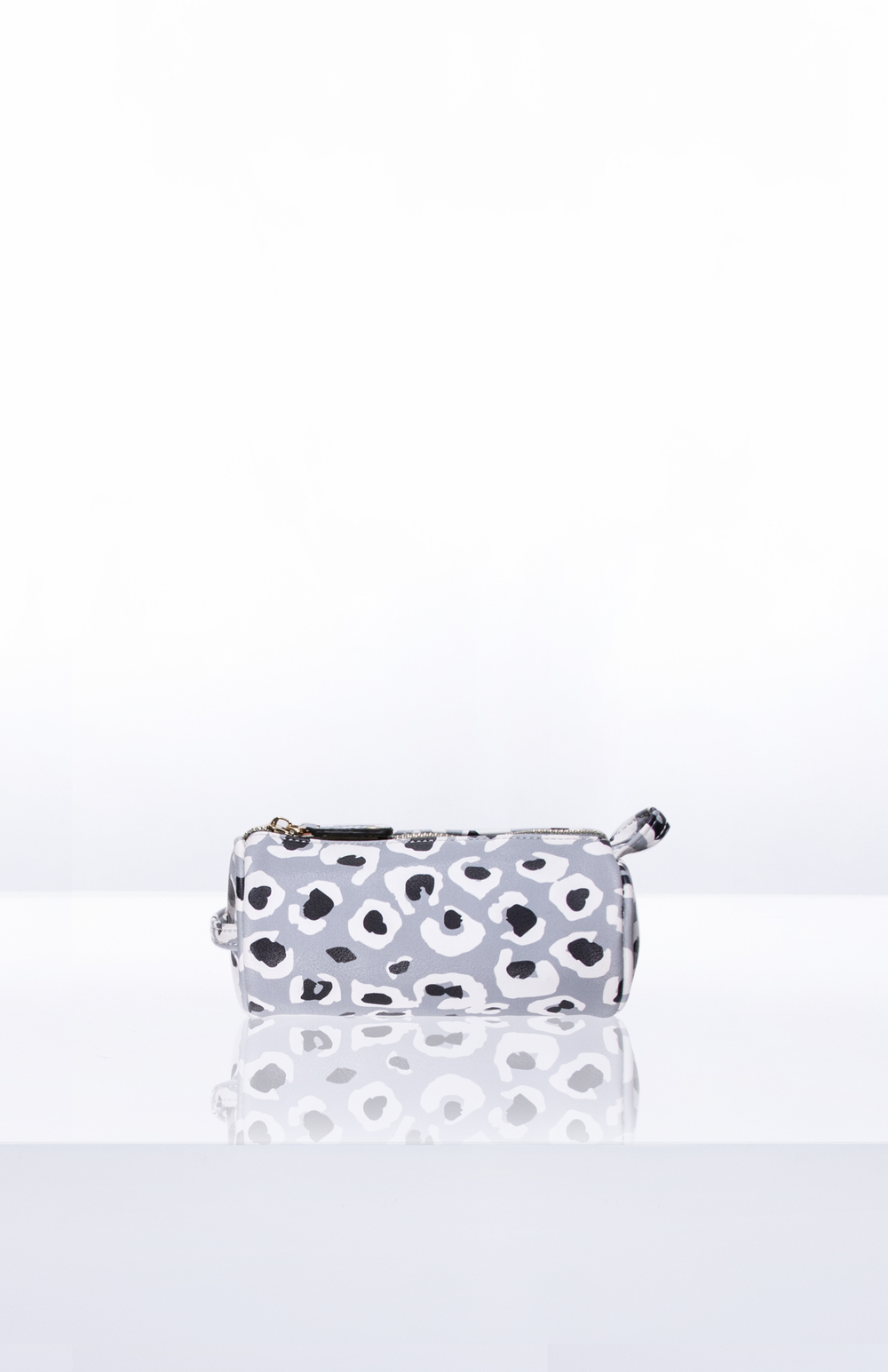 BETTY MINI BRUSH ROLL- Custom Printed PU (Snow Leopard)