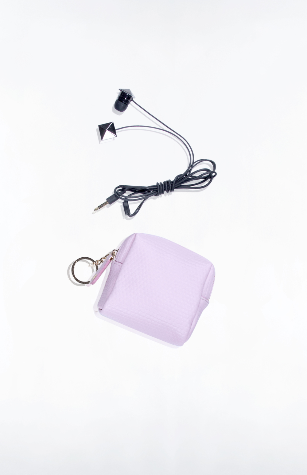 ROE EARBUD/KEY POUCH- Blush Bubble PU