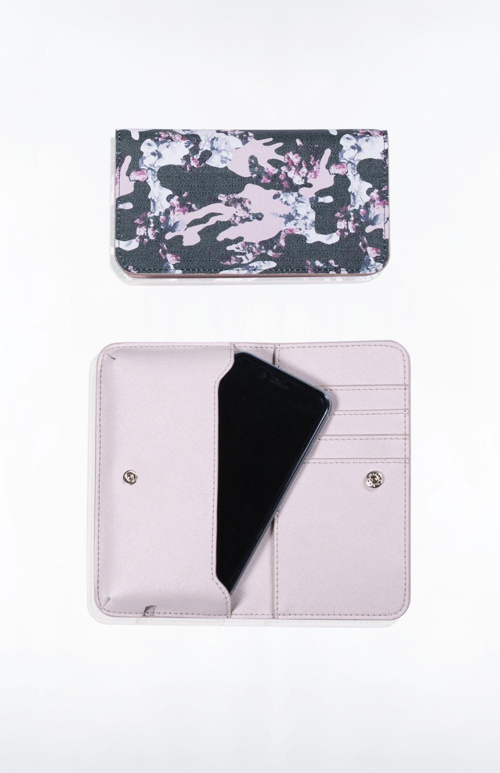 CALLIE PHONE WALLET- Custom Printed Saffiano (Floral Camo)
