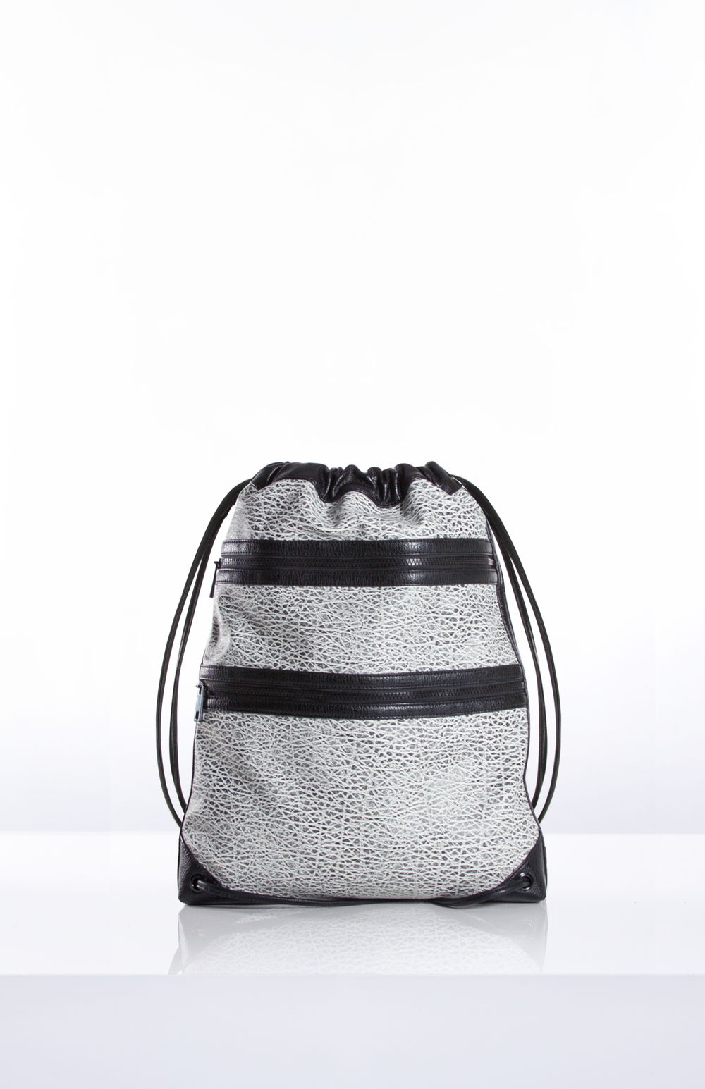 Verge Creative Group's Summer 2017 Odessa Drawstring Gym Bag made with Heavy Marbled PU and Nylon Mesh Blocking.