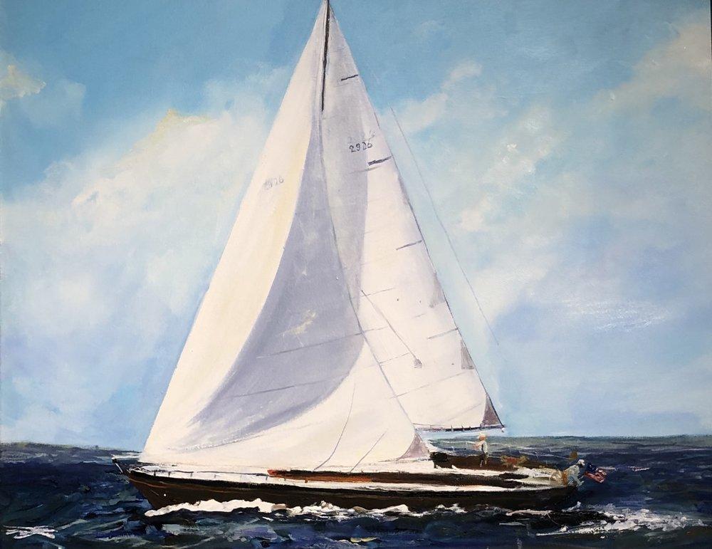 "White Sail      oil         24"" x 30""         $1800"