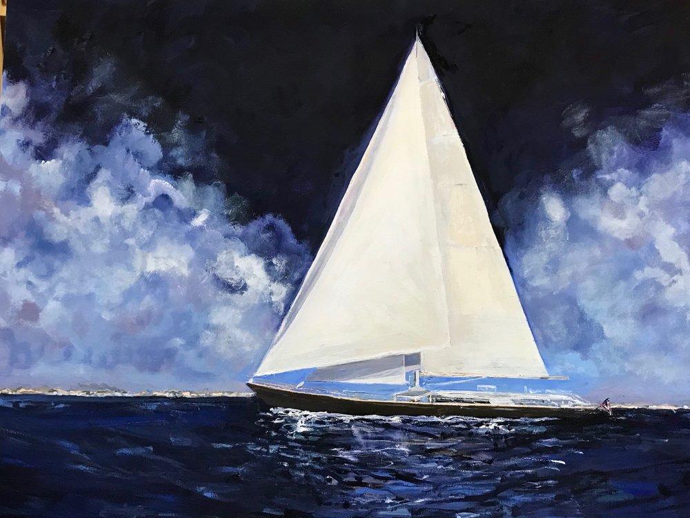 """White Sails, Dark Sky framed girl 24"""" x 30"""" $800"""