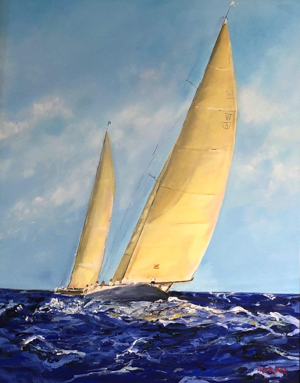 "Yellow Sails Oil 24"" x 30"" $1800"