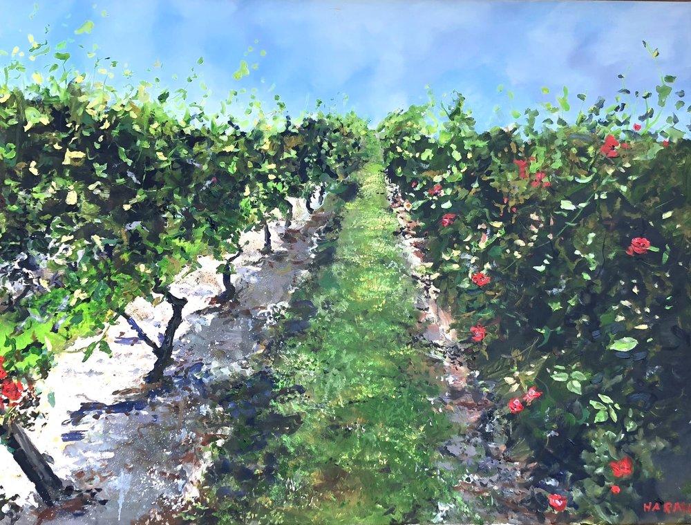 """Red Roses, Macari Vineyard Oil 30"""" x 40"""" $2200"""