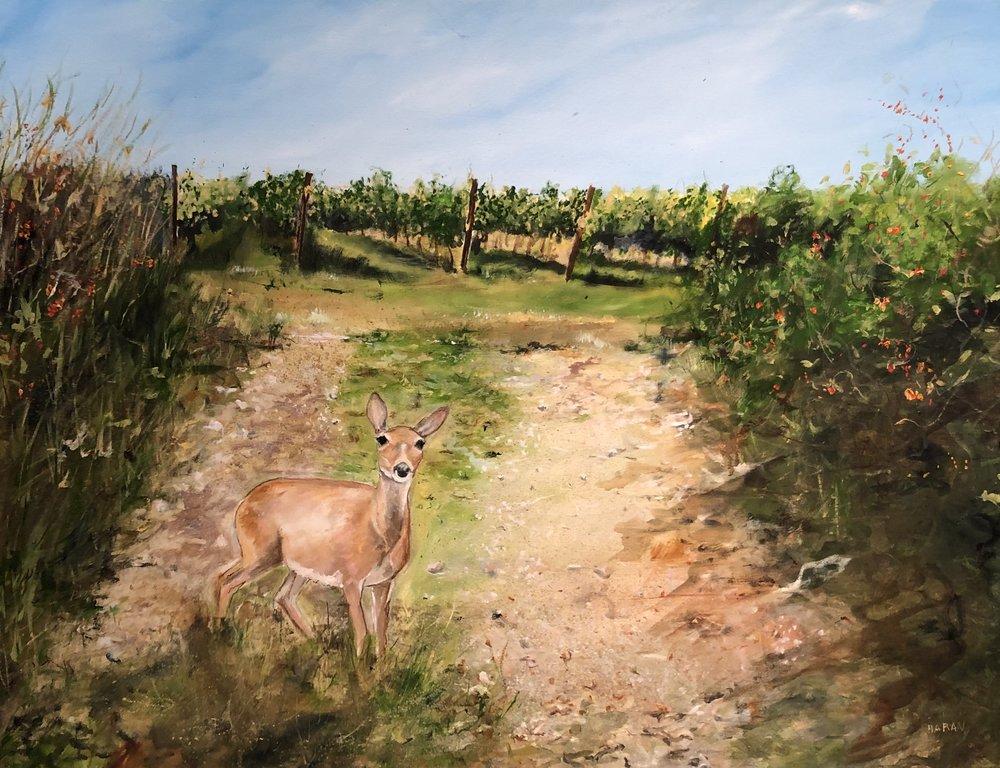 """Deer in the Vineyard, oil 36"""" x 48"""" $2500"""