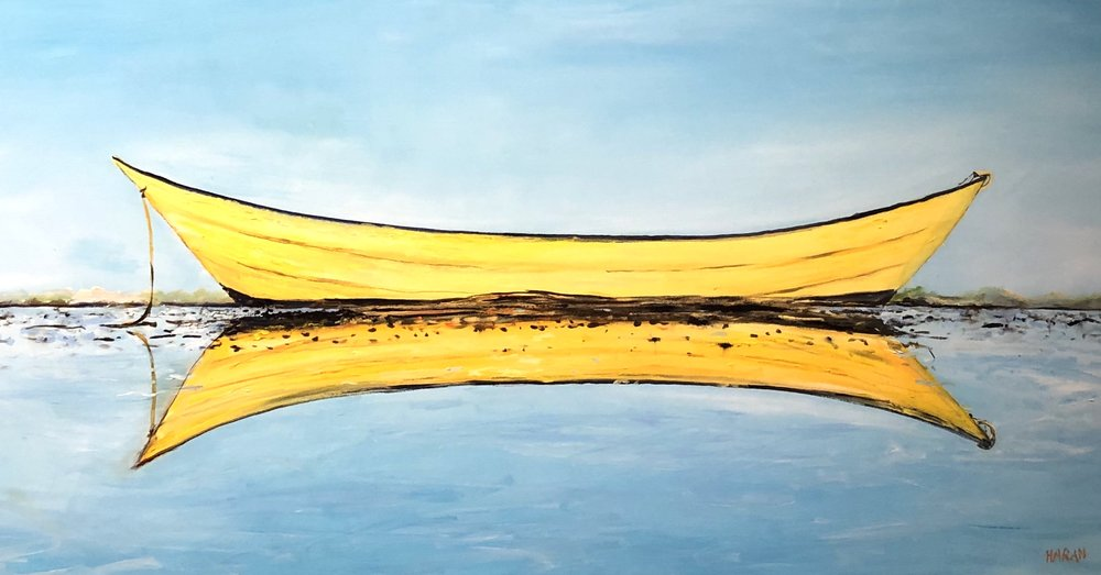 """Yellow Reflection Oil 24"""" x 48""""  $1800"""