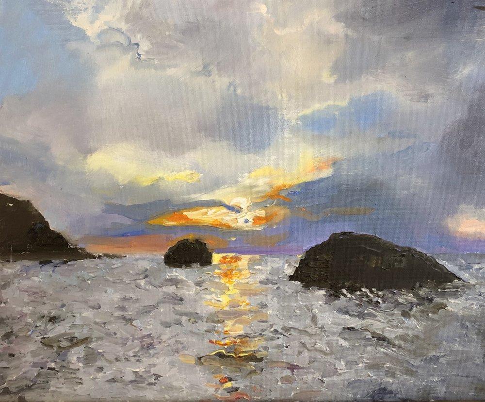 "Sunset on the Sound  Oil 11"" x 14"" $400"