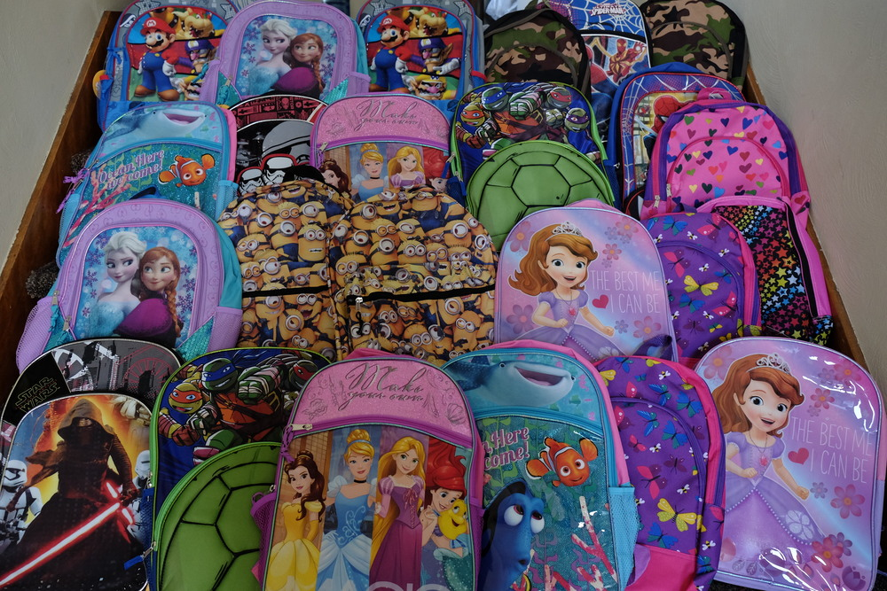Girls and Boys Backpacks ready to be packed with YOUR donations.