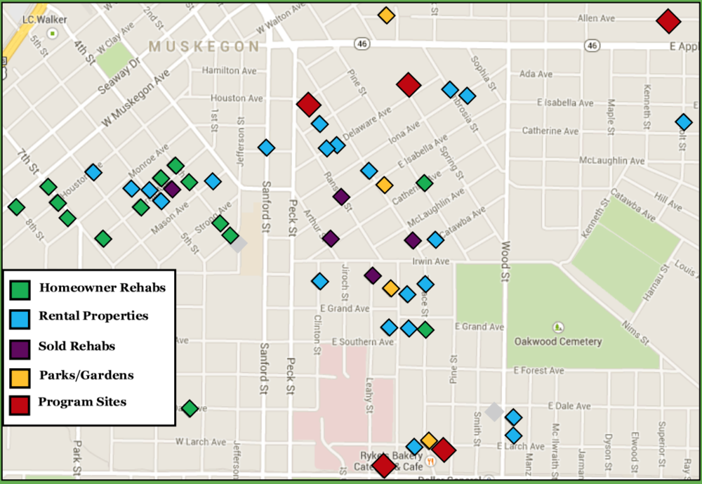Click on the map to see the impact that you can help Community enCompass grow in our community revitalization activities in the downtown neighborhoods of Muskegon.
