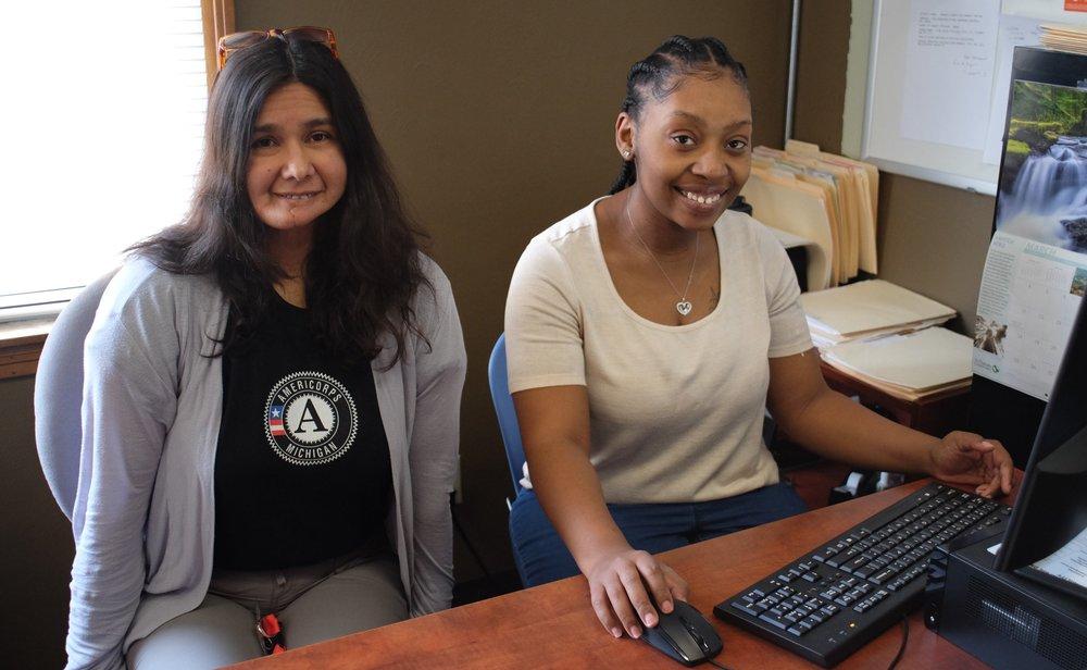 Margarita (L) and Kiara (R) are both AmeriCorps working at the HARA program.