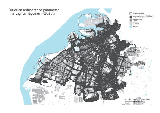 Väg- och tågbuller över 55 dB(A) i Malmö stad.
