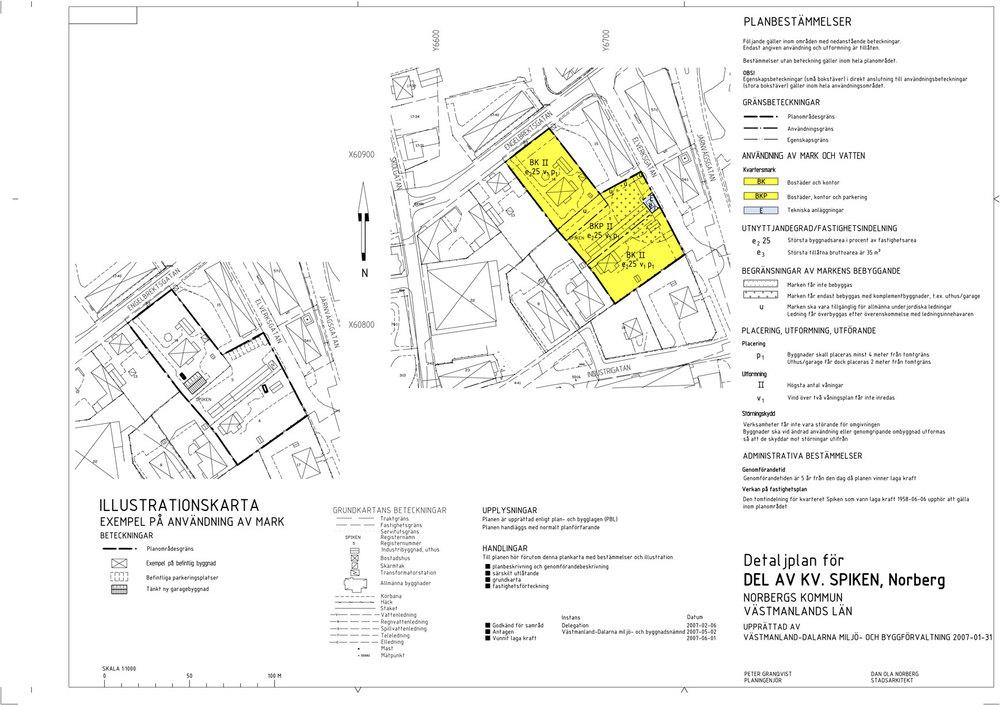 Norberg försöker ta med alla användningsändamål som kan vara lämpliga inom aktuella planområde för att kommunen inte ska vara lika känslig för snabba svängningar. Denna detaljplan från 2007 är ett exempel på en plan där bostadsändamål har kompletterats med kontor för att öka flexibiliteten.