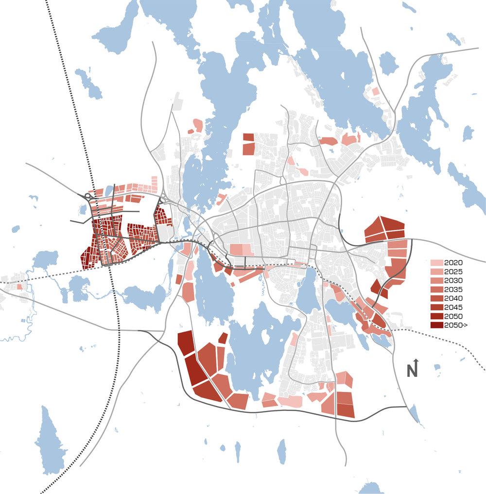 Styrmedel och finansieringskälla.  Växjö kommun omarbetade sin översiktsplanering för att visa på exploateringsmöjligheter kring ett tänkt stationsläge längs höghastighetsbanan. En inriktning som nu svalnat efter att Sverigeförhandlingen fäst blicken på en västligare sträckning.
