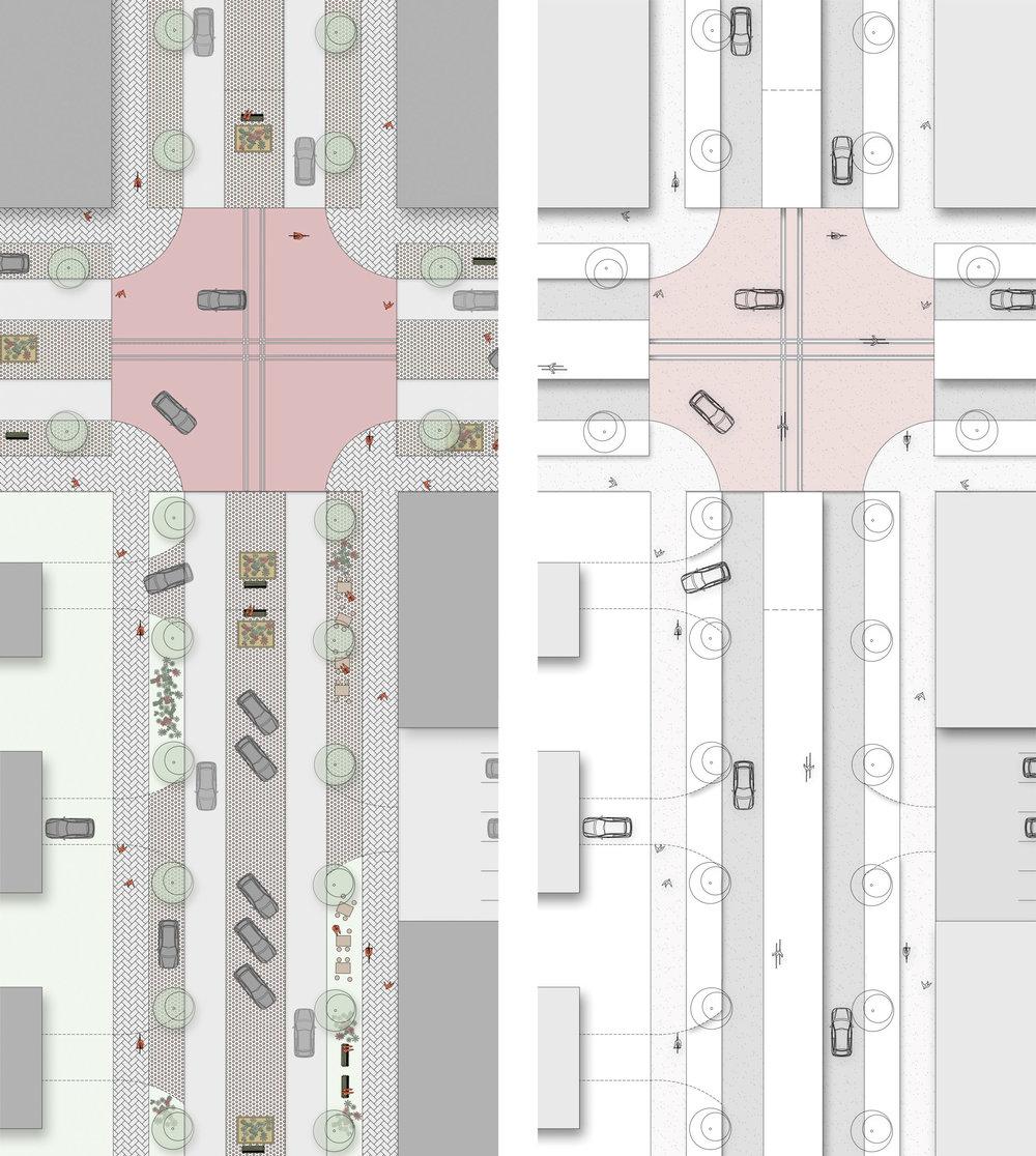 Illustrationsplan för korsningspunkt och gata med årstidsskiftande användning och utseende. Se även modellbilder.