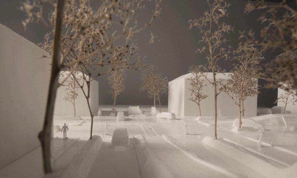 Vinter - Vy över gata och korsning