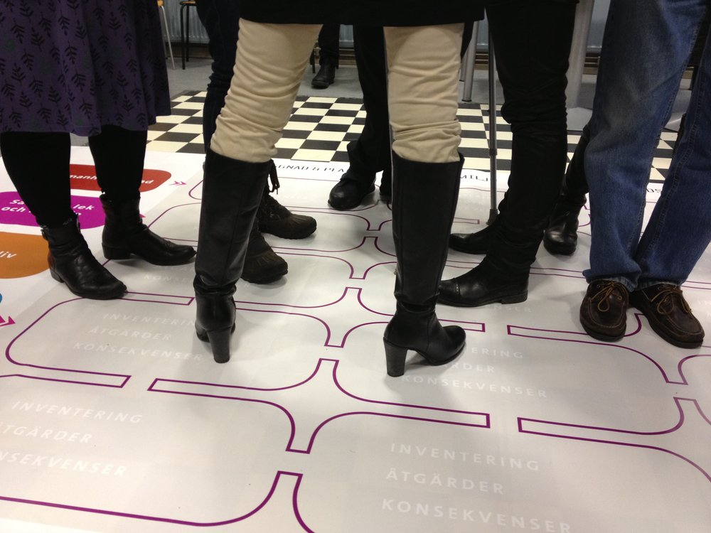 Matrisen är ett verktyg för att göra en SKB, den är uppdelad i skalnivå från byggnad och plats till region –varje liten förändring påverkar hela staden och hela staden påverkar varje plats. Som ett pedagogiskt hjälpmedel har matrisen tryckts upp på stora mattor. Foto: Ulrika Lundquist