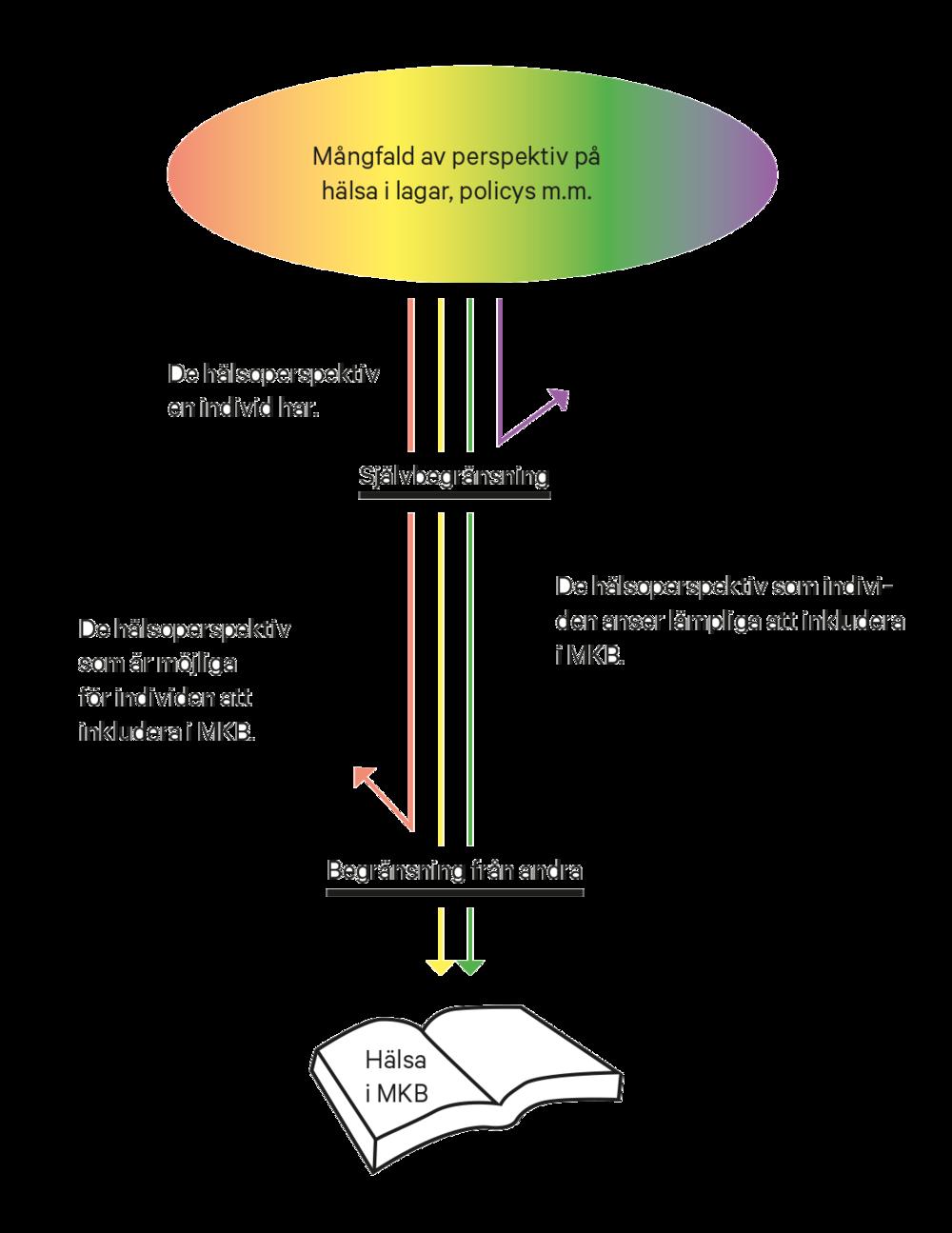 Figur 1. En principskiss över hur de två formerna av begränsning fungerar som filter för vilka perspektiv på hälsa som lyfts in MKB. Modifierad från Kågström, 2016, sid 49.