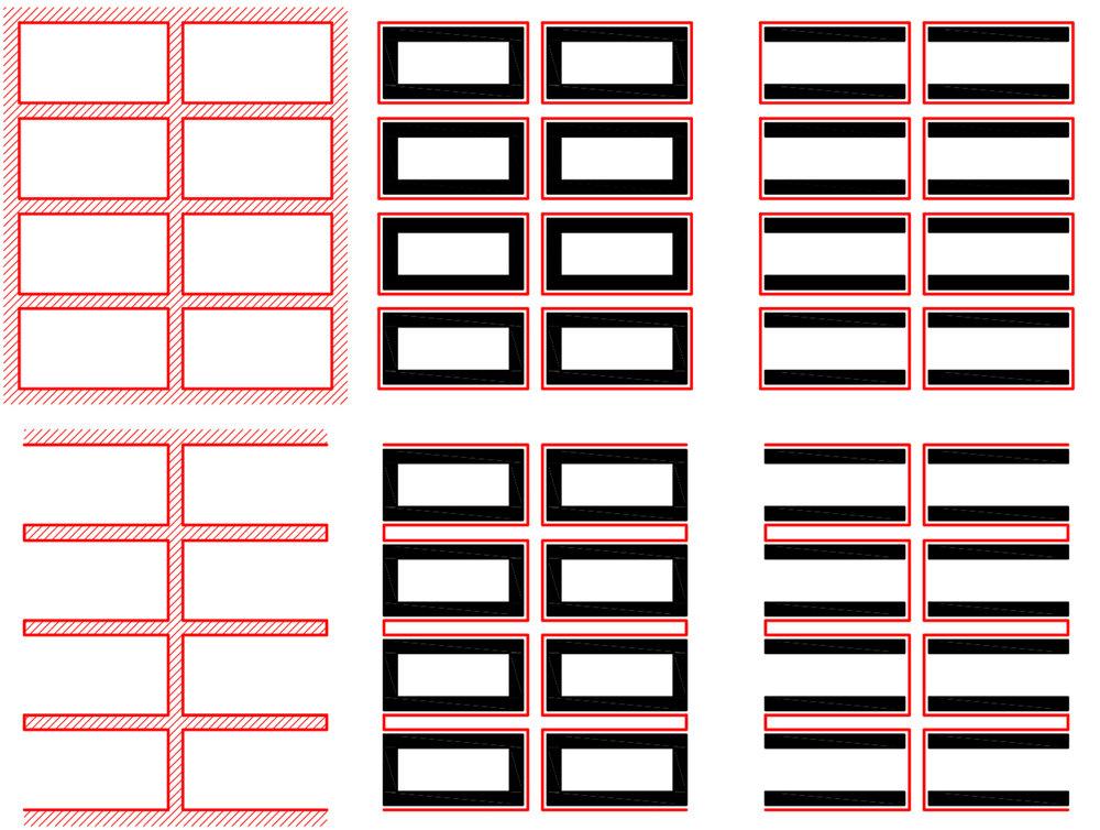 """Figur 1. Eftersom gatustrukturen i hög grad styr flödet i staden får detta stor betydelse för stadslivet. Att fokusera bebyggelsestrukturen som när vi säger """"kvarterstad"""" leder därför lätt fel. Samma bebyggelsestruktur får väldigt olika effekt beroende på vilken gatustruktur som servar den. Jämför kvartersbebyggelse och lamellhusbebyggelse med gator i nätstruktur respektive trädstruktur."""