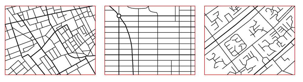 Figur 3. Olika rutnätstrukturer: å ena sidan London och New York med nätstrukturer och kvarter i varierande storlekar; å andra sida Brasilia med en mycket hierarkisk struktur som resulterar i enorma kvarter med väldigt fria former.