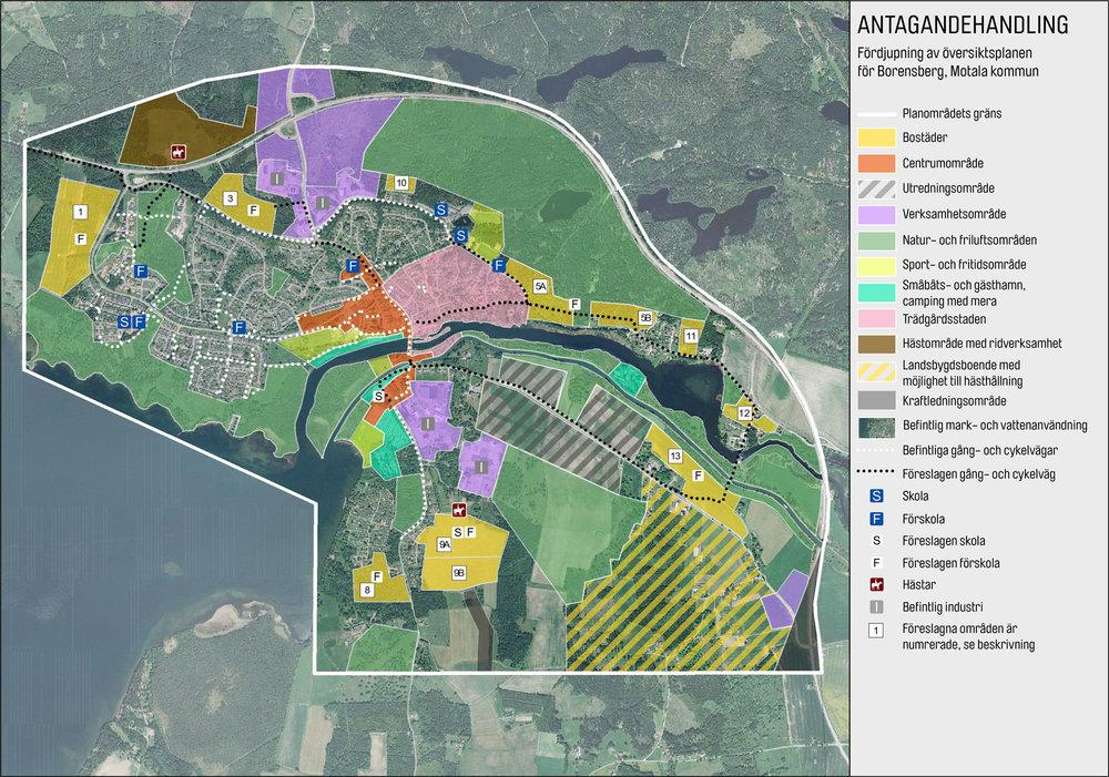 Fördjupning av översiktsplanen för Borensberg, Smideman Arkitekter och Motala kommun. De gula områdena är utbyggnadsområden för bostäder.