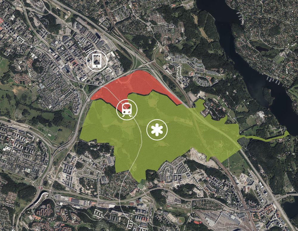 Norra Kymlinge med den oöppnade tunnelbanestationen i mitten, Igelbäckens naturreservat i söder och Kista i Norr. Baserad på underlag från Lantmäteriet.