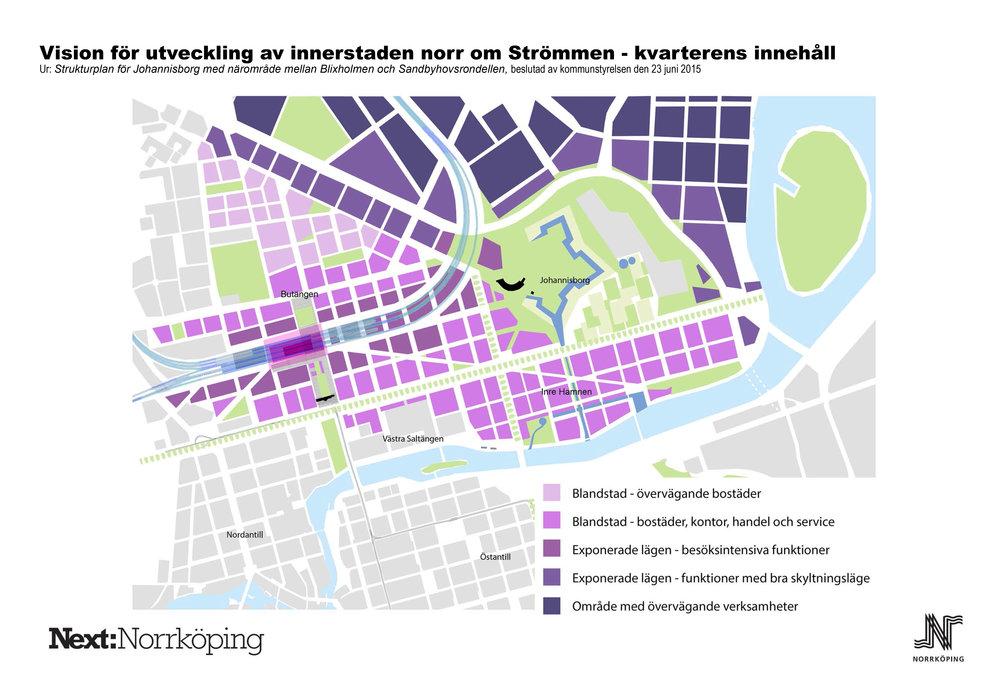 Norrköping kommuns vision för utveckling av innerstaden med Butängen och det nya stationsläget i fokus. Färgerna visar det tänka innehållet för den tillkommande bebyggelsen. Karta framtagen av stadsbyggnadskontoret, Norrköpings kommun.