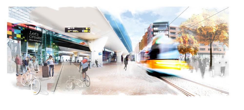 Stationer med upphöjda järnvägsspår finns på flera håll i världen, men att bytet mellan olika färdmedel så som buss, spårvagn och cykel kan göras i en samlad punkt kommer att bli unik enligt Norrköpings kommun. Bild av Josef Erixon