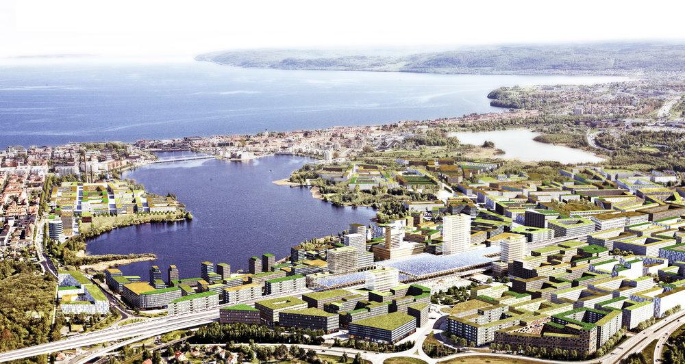 Förutom att planera och förverkliga en helt ny stadsdel behöver man också ta hänsyn till den enorma satsning som en höghastighetsjärnväg kräver. I Jönköping finns höjdskillnader runt omkring staden att ta hänsyn till och det gör att järnvägen behöver lyftas fram på en cirka 10 meter hög bro genom staden. Bild: Wingårdh Arkitekter AB
