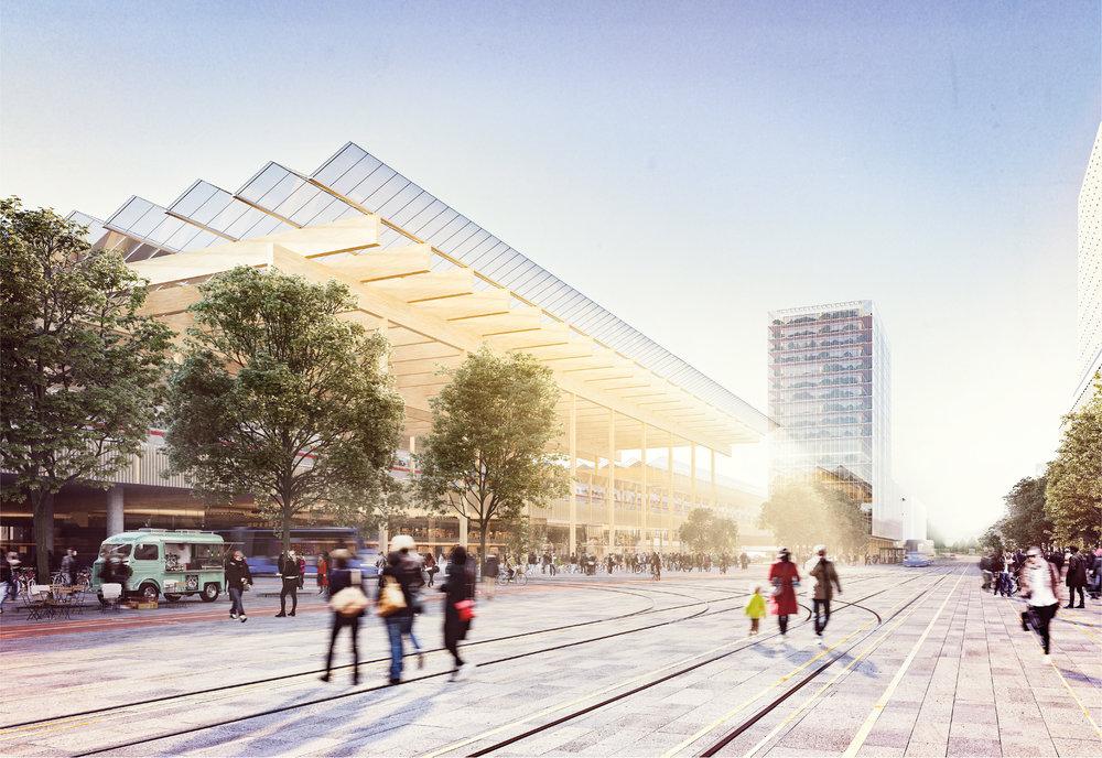 Då hela området ska omvandlas finns möjligheter att anpassa stadsbyggandet till den nya järnvägen och forskning visar att järnvägens många positiva möjligheter med ökad tillgänglighet nås bäst genom centrala stationslägen där boende och arbetsplatser ligger inom gångavstånd. Bild: Wingårdh Arkitekter AB