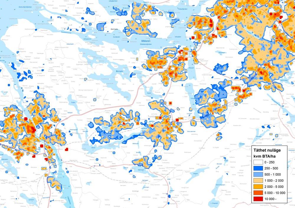 Rumsligt utfall av markanvändningsmodell, bebyggelsetäthet i nuläget.